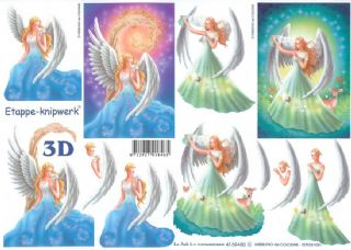 Blue & Green Angel 3d Decoupage Sheet